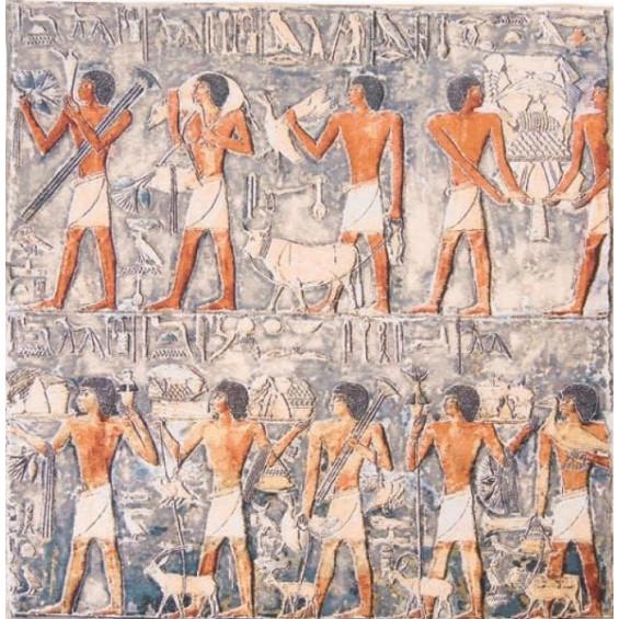 Гобелен Древний обряд квадратный (бежевый и голубой фон)